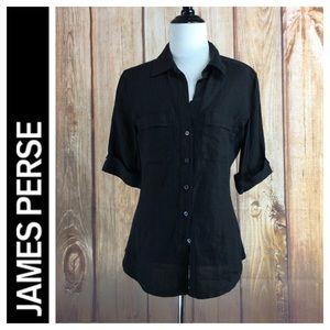 ☮️James Perse 3/4 Sleeve Button Down Shirt Sz 2/M